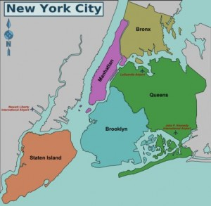 NYC Boroughs Map - Manhattan, Brooklyn, Queens, The Bronx and Staten Island