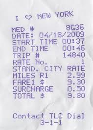 A Typical New York City Taxi Cab Receipt