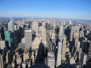 Manhattan from Empire State with shadow of building in the picture