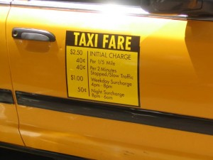 Taxi Fare Structure Posted on a NYC Cab
